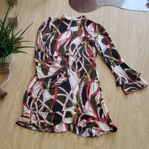 Zara Woman horse bridle print ruffle dress